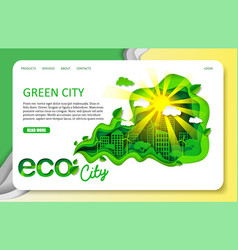 paper cut green city landing page website vector image