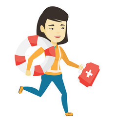 Paramedic running with first aid box vector