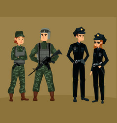 police officers and military soldierman and woman vector image