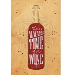 Poster time for wine kraft vector image