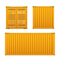 realistic bright yellow cargo container set t vector image