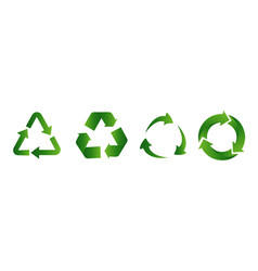 recycle icon set recycling green color flat vector image