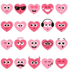 Red and pink hearts with smiley faces vector