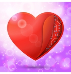red heart in bright lovely air with sun beams vector image