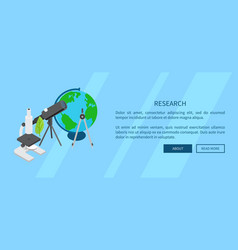 Research template banner with scientific tools vector