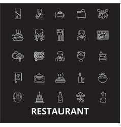 restaurant editable line icons set on black vector image