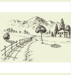 Road to a alpine farmhouse mountains landscape vector