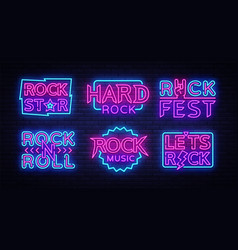 rock music neon signs collection design vector image
