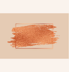 Rose gold or copper color foil texture frame vector