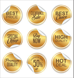 round white and gold paper sale sticker vector image