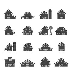 rural barn building silhouettes glyph icons set vector image
