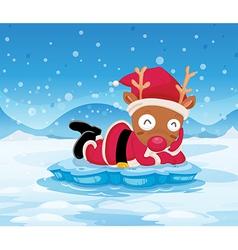 Santas reindeer above iceberg vector