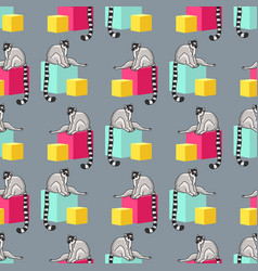 Seamless pattern with cartoon lemurs an vector