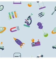 Seamless pattern with cartoon science elements an vector image
