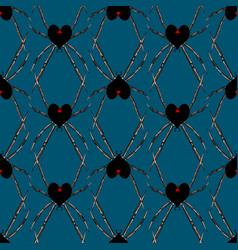 Seamless pattern with spider black heart widow vector