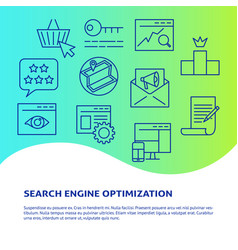search engine optimization banner in line style vector image
