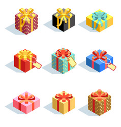set different colored 3d gift boxes with ribbons vector image