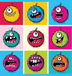 set funny cartoon furry monsters vector image