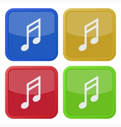 set of four square icons with musical note vector image