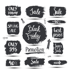 set of hand drawn sale promotion banners vector image