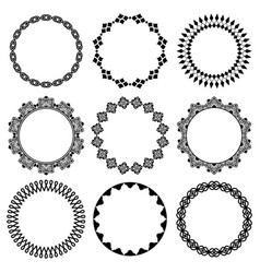 Set of round frames in oriental style 1 vector