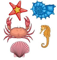 set sea animals vector image