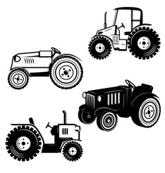 set tractor icons isolated on white background vector image