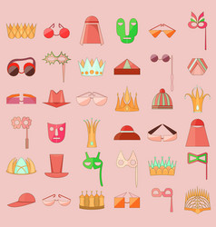 set with stroked icon of diverse accesories vector image