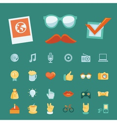 set with trendy hipster icons and signs in retro s vector image
