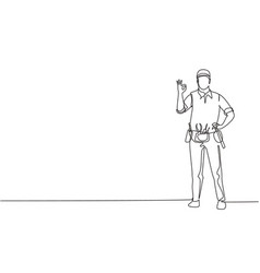 single continuous line drawing handyman stands vector image