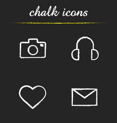 social media chalk icons set vector image