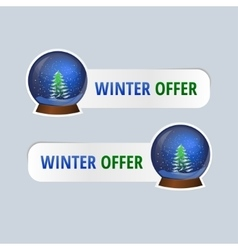 Stickers for winter offers vector