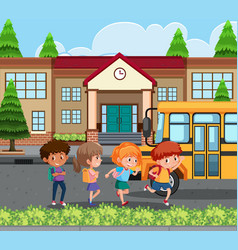 Student going home by school bus vector