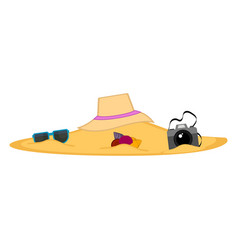summer objects buried on the beach sand vector image