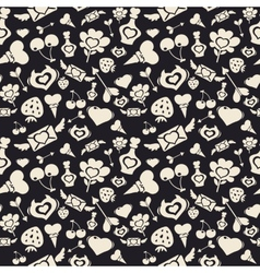 Sweet Valentine Pattern Dark vector image