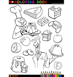 Sweets and cakes for coloring vector