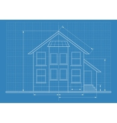 Technical drawing house blueprint vector