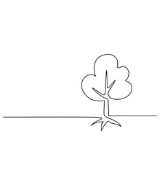 Tree with roots on white background vector