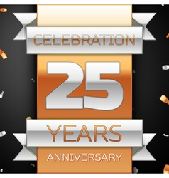 Twenty five years anniversary celebration golden vector