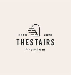 Up stairs door niche arch hipster vintage logo vector