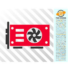 video graphics gpu card flat icon with bonus vector image
