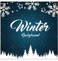 Winter background snowflake pine blue background v vector