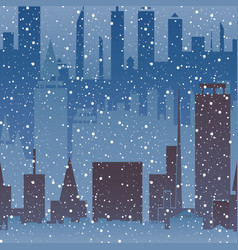 winter in the city snowfall in the city seamless vector image