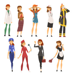 women of different professions set doctor police vector image