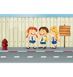Children laughing along the road vector image vector image