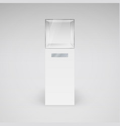 empty glass showcase in cube form for vector image vector image