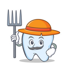 farmer tooth character cartoon style vector image vector image