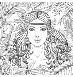 girl and tropical plants vector image vector image