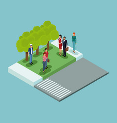 isometric people in park vector image