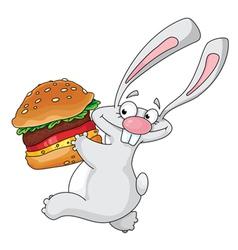 rabbit and hamburger vector image vector image